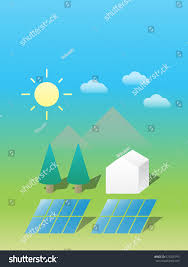 100 Self Sustained House Graphic Solar Panels Illustrate Basic Stock Vector Royalty