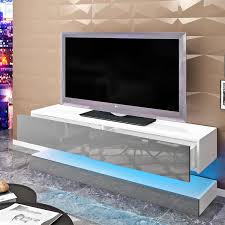 Costway High Gloss TV Stand Media Entertainment WLED Lights Drawers For 65