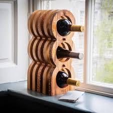 GONGSHI 3 Tier Stackable Wine Rack Countertop Cabinet Wine Holder Storage Stand Hold 12 Bottles Metal Embossed Bronze