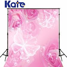 Kate graphy Backdrops Happy Birthday Theme Pink Background Pink Flowers White Butterfly For Newborn Studio