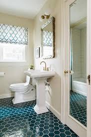 peacock blue hexagon tiles transitional bathroom