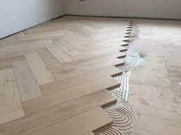 Engineered Oak Large Parquet Block Wood Flooring Installed Over Underfloor Heating