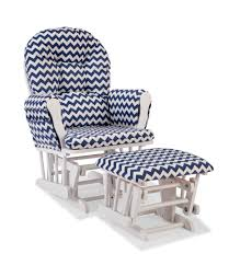 Storkcraft Custom Hoop Glider & Ottoman - White/Navy Chevron