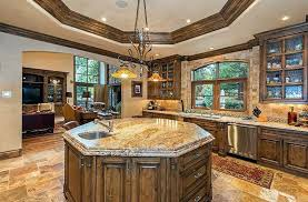 Rustic Italian Kitchen With Octagonal Shaped Island