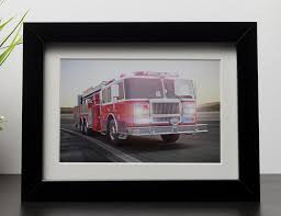 100 Fire Truck Sirens Truck Running With Lights And Sirens Framed Print Canvas Art