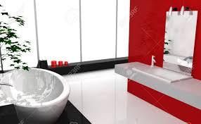 moderne luxus badezimmer mit modernem design und möbel farbig in schwarz und rot 3d rendering