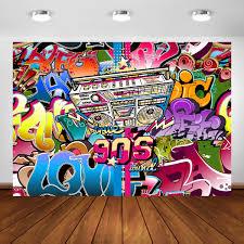 90s Backdrop Hip Hop Theme Party Decorations 7x5ft Vinyl Graffiti Photo Studio Background Props 90th Portrait Booth Banner
