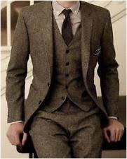 Mens Tweed Herringbone Check Tan Tuxedos Groom Slim Fit Vintage 3 Pieces Suit