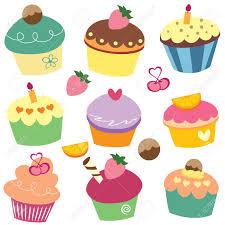yummy cupcakes clip art Stock Vector