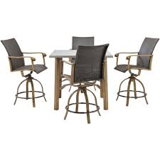 hanover hermosa 5 piece all weather wicker square patio bar height
