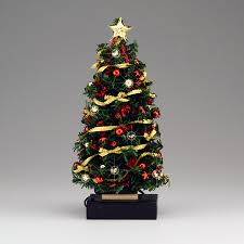 Lighted Red Gold Bow Christmas Tree