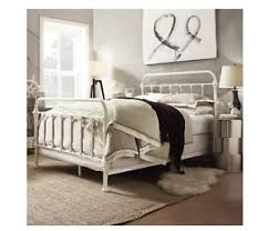 NEW Queen Victorian Antique White Metal Iron BED Frame Vintage