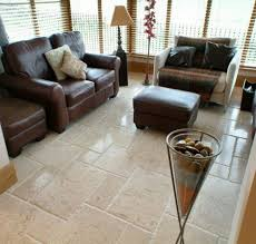 Marble Floor Tile For Living Room With Brown Leather Sofa Chairs