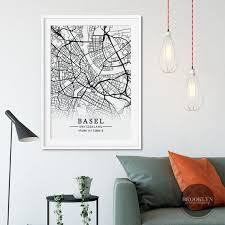 basel city map grid poster print switzerland map
