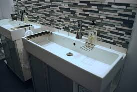 Trough Sink Vanity With Two Faucets by Bathrooms Design Long Curvy Trough Bathroom Sink With Two
