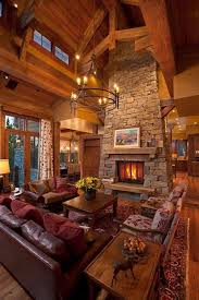 Living Room With Fire Place And High Ceilings