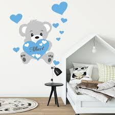 stickers ours chambre bébé sticker prénom personnalisé ourson bleu stickers chambre enfants