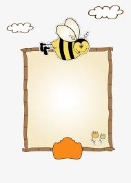 Cartoon Animal Page Border Decoration Vector Clipart Bee PNG And