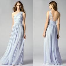 e Shoulder Light Blue Bridesmaid Dresses Elegant Long Chiffon