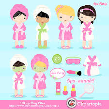 Spa Party Digital Clipart Girls Cute Clip Art For Personal And Comercial Use Instant Download From ClipArtopia On Etsy Studio