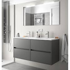 badmöbel set badezimmer möbel schrank 120 cm hänge mit doppel waschtisch grau mit spiegel