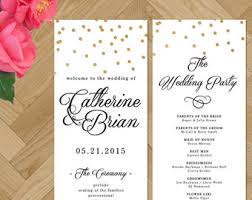 Printable Wedding Program Calligraphy Black And White Gold Foil