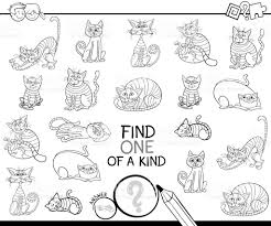 Find One Of A Kind Game With Cats Coloring Book Royalty Free Stock Vector Art