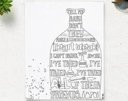 Drink You Away Coloring Page JUSTIN TIMBERLAKE Instant Download Lyric Art Printable Adult Pages Anti