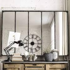 spiegel im industrial stil mit metallrahmen 180x124 maisons du monde