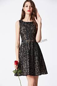 prom dresses online 2016 black round neck lace with color