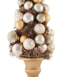 Unlit Christmas Tree Toppers by Gold Metallic Table Top Artificial Christmas Tree Treetopia