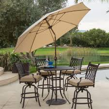 9 Ft Patio Umbrella With Crank by Beige Canopy 9 Ft Patio Umbrella With Push Button Tilt And Bronze