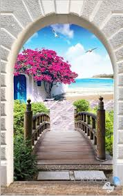 Wall Mural Decals Flowers by 3d Flower Blossom Tree Bridge Corridor Entrance Wall Mural Decals