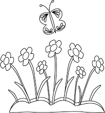 Black and White Butterfly and Flowers Clip Art Black and White