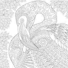 Stylized Flamingo Bird Among Jungle Foliage Freehand Sketch For Adult Anti Stress Coloring Book Page