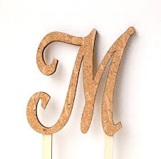Rustic Cake Topper Wedding Monogram Single Letter Wood And Cork Decor