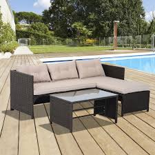 outsunny patio furniture set 3pc rattan wicker sofa chaise longue