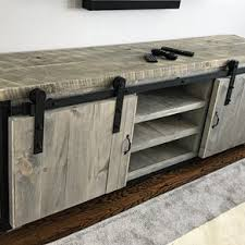 Rustic Industrial Barn Board Media Stand W Sliding Doors By Jeremy Paradis