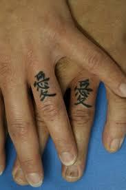 Nice Chinese Finger Tattoo