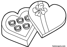 Valentines Day Candy Gift Coloring Pages Printable