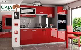 küche 240cm rot hochglanz mit hochschrank für ofen