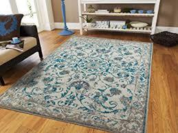 amazon com traditional vintage area rug distressed rug teal blue