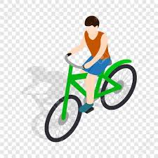 Cyclist Riding A Bike Isometric Icon 3d On Transparent Background Vector Illustration Stock
