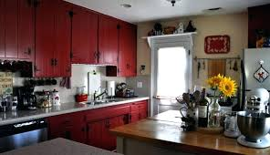 Rustic Red Kitchen Cabinets Island Decor