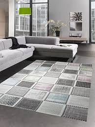 designer und moderner teppich kurzflorteppich mit karomuster grau bunt blau grün rosa größe 80 x 300 cm