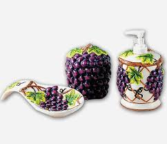 A Grapevine Ceramic Pump Dispenser Spoonrest Pad Holder
