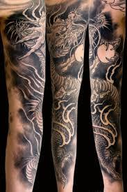 Black Grey Dragons Japanese Sleeve Tattoo