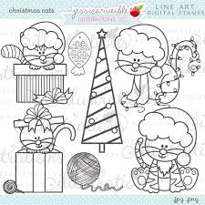Christmas Cats Cute Digital Stamps For Commercial Or Personal