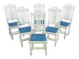 Unique Set Of Six Unique Shabby Chic Baroque Jacobean Style Vintage French  Country White Oak High Back Royal Blue Velvet Dining Chairs Roseberry Shabby Chic French Country Cottage Antique Oak Wood And Distressed White 7piece Ding Set Four Stripy White Blue Shabbychic Ding Chairs Hand Painted Finished In Woking Surrey Gumtree Table Chairs Best Of Ripley Chair Pine Round Room Height Lights Ballad Decoration Tables Balloon Back Antique White French Chic Ornate Ding Table Set With Decor Cozy Slipcovers For Inspiring Interior My Home Room Ideas Chic Diy Shabby Chrustic Chair Basil Chaise