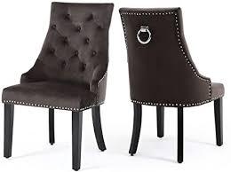 warmiehomy 2er set samt esszimmerstühle geknöpfte küchenstühle mit nieten und klingelbeinen aus chrom und walnussholz esszimmermöbel braun